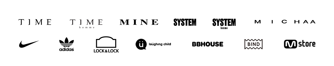 브랜드 바로가기 - TIME, TIME HOMME, MINE, SYSTEM, SYSTEM homme, MICHAA, Nike, adidas, LOCK&LOCK, laughing child, BBHOUSE, BIND, Mstore